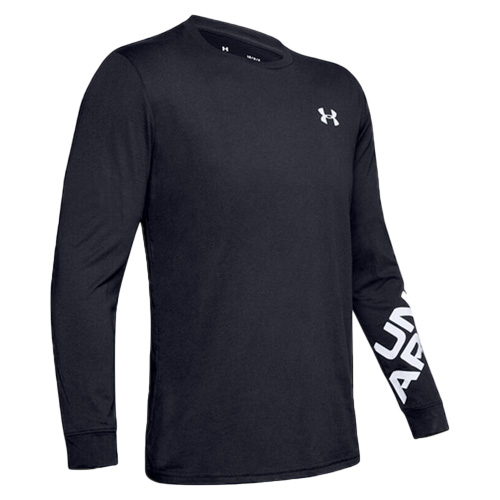 Men's Under Armour Wordmark Long Sleeve Tee, Black, swatch
