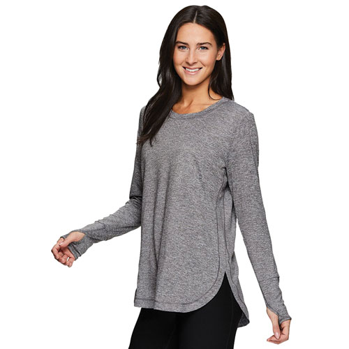 Women's Double Peached Jersey Crew Shirt, Heather Gray, swatch