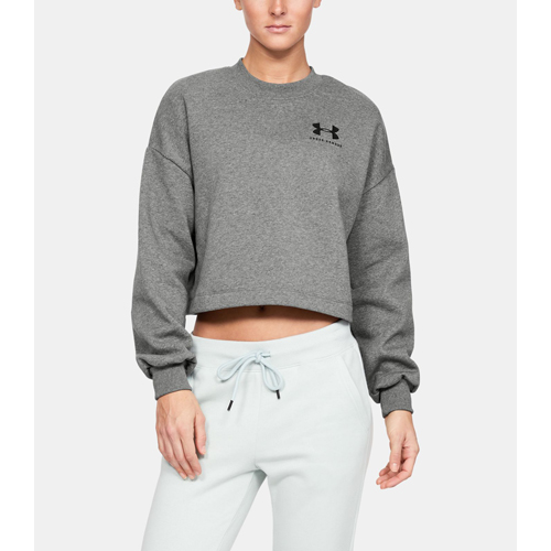 Women's Rival Graphic LC Fleece Crew Sweatshirt, Charcoal,Smoke,Steel, swatch