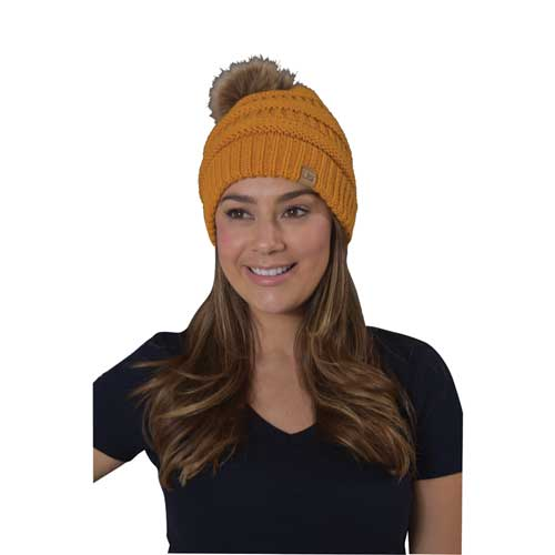 Women's Knit Beanie With Fur Pom, Gold, Yellow, swatch
