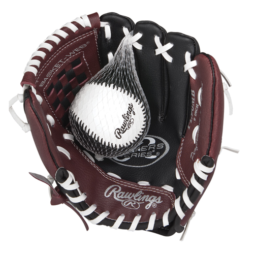 "Youth 9"" Players Series Glove with Baseball, Black/Brown, swatch"