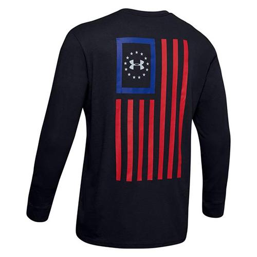 Men's Freedom New Flag Long Sleeve Tee, Black, swatch