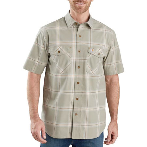 Men's Rugged Flex Relaxed Fit Lightweight Plaid Shirt, Green, swatch