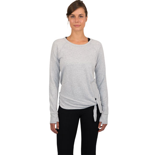 Women's Terry Crew Neck With Side Knot, Heather Gray, swatch