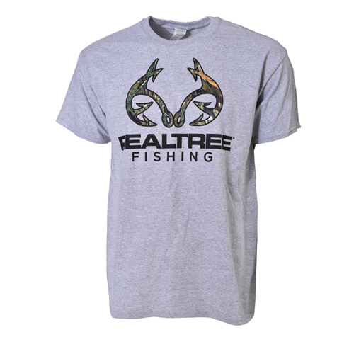 Fishing Men's Short Sleeve RT Xtra Fishing Logo Tee, Heather Gray, swatch