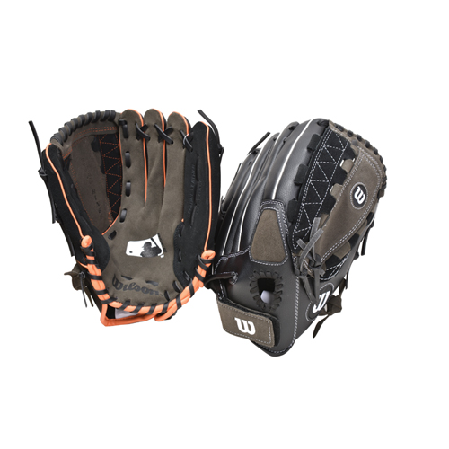 "A350 11.5"" MLB Series Ball Gloves, Gray/Black, swatch"