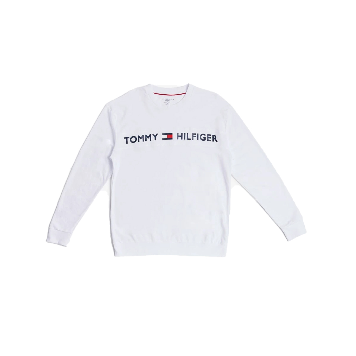Men's Crewneck with Chest Text, White, swatch