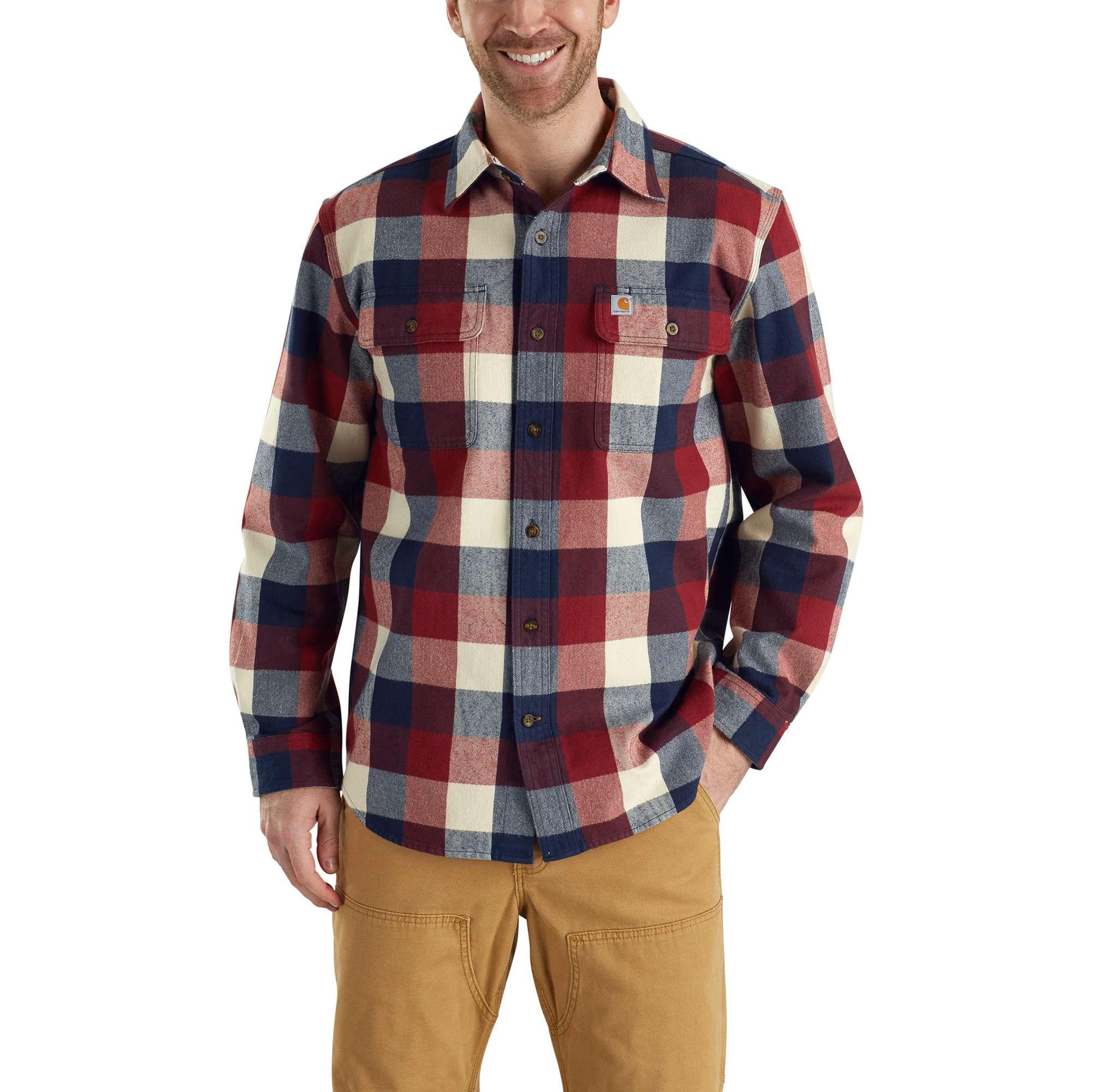 Men's Hubbard Plaid Long Sleeve Shirt, Navy, swatch