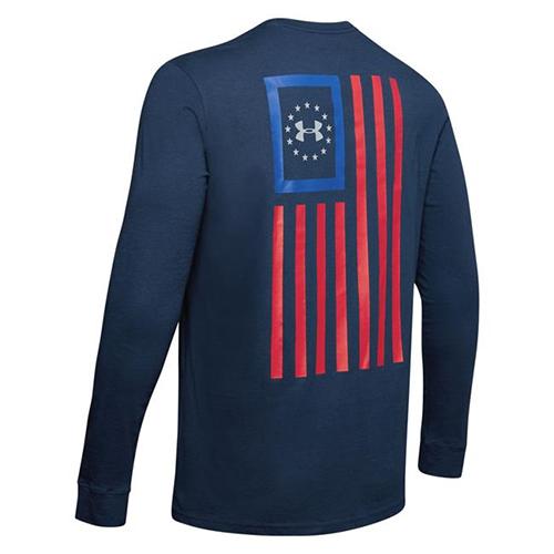 Men's Freedom New Flag Long Sleeve Tee, Navy, swatch