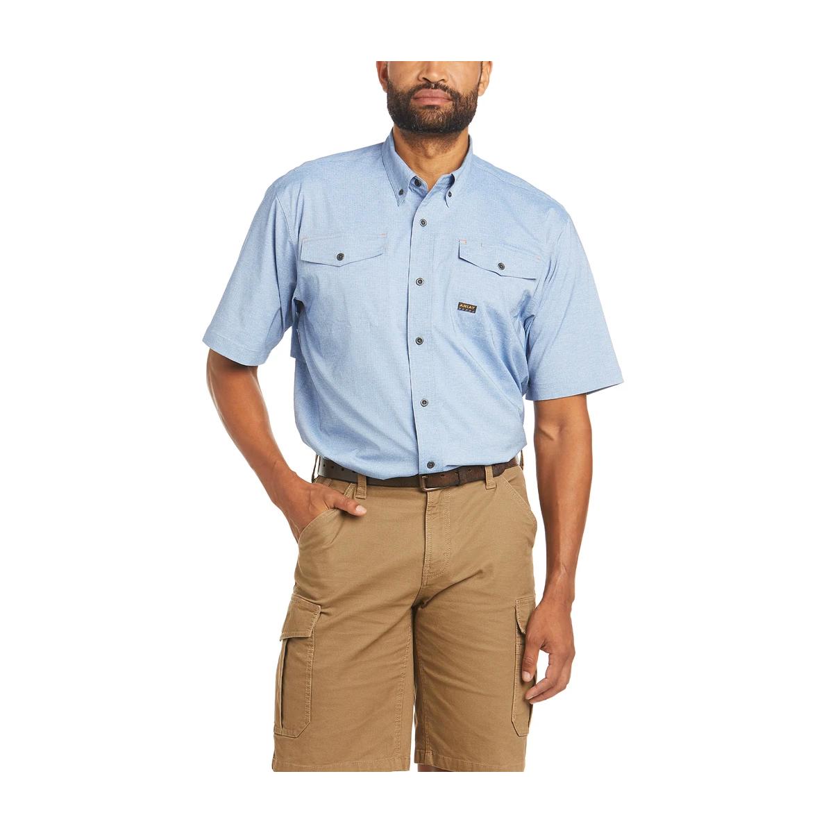 Men's Rebar Made Tough VentTEK Blue Stretch Work Shirt, Heather Blue, swatch