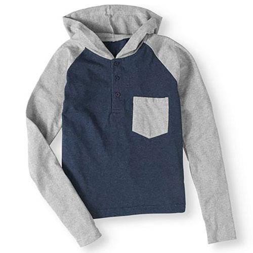 Men's Black Raglan Jacket, Black/Blue, swatch