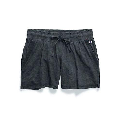 Women's Heathered Jersey Shorts, Black, swatch