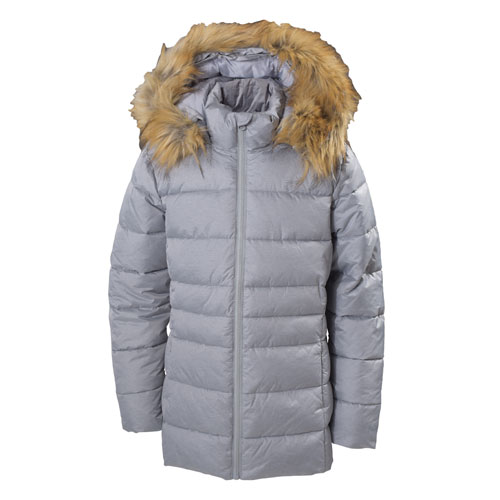 Girl's Hooded Synthetic Jacket, Silver,Chrome,Nickel, swatch