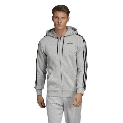 Men's Essentials 3-Stripes Fleece Full-Zip Hoodie, Heather Gray, swatch