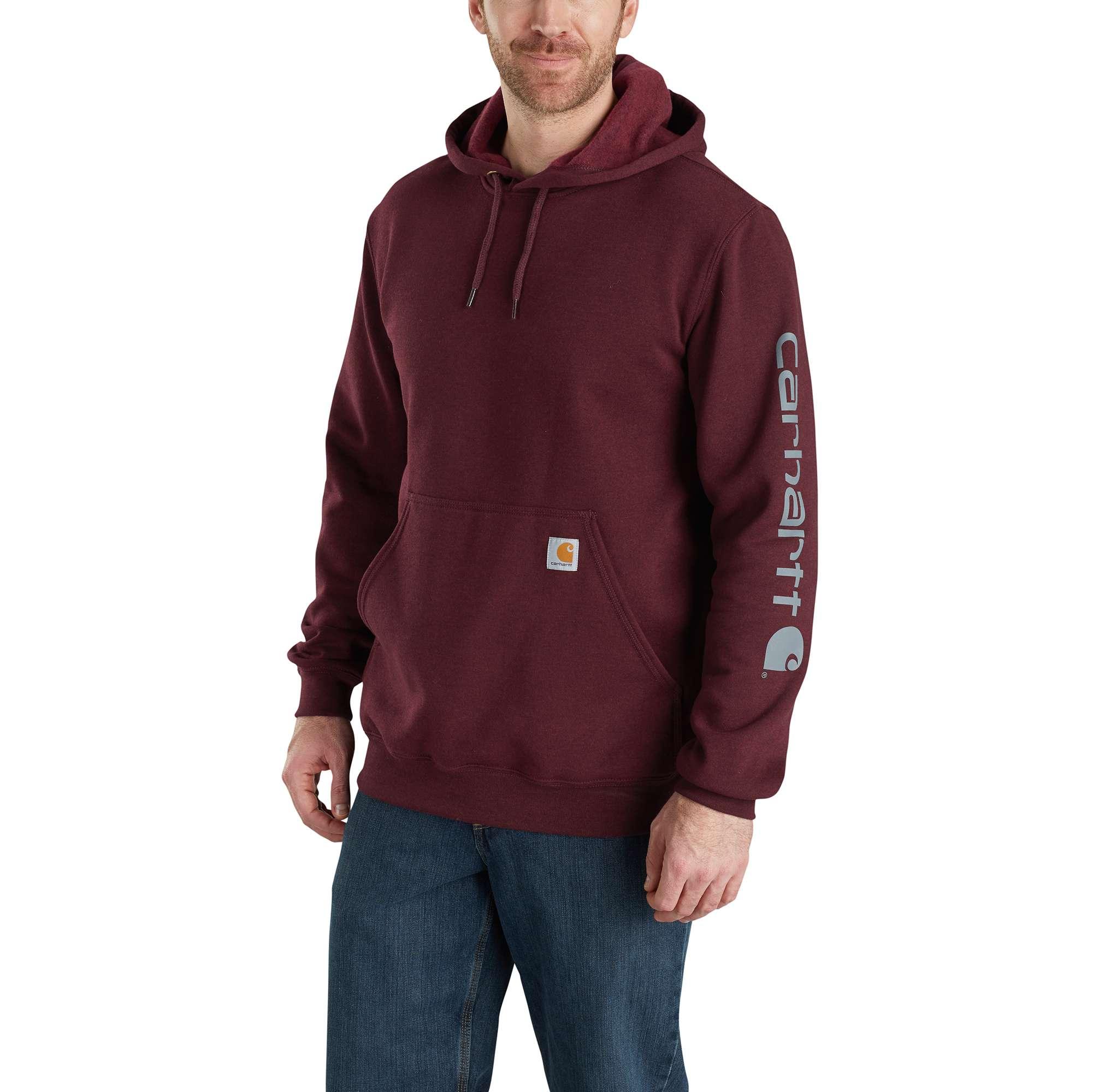 Men's Midweight Signature Logo Sleeve Hooded Sweatshirt, Dk Red,Wine,Ruby,Burgandy, swatch