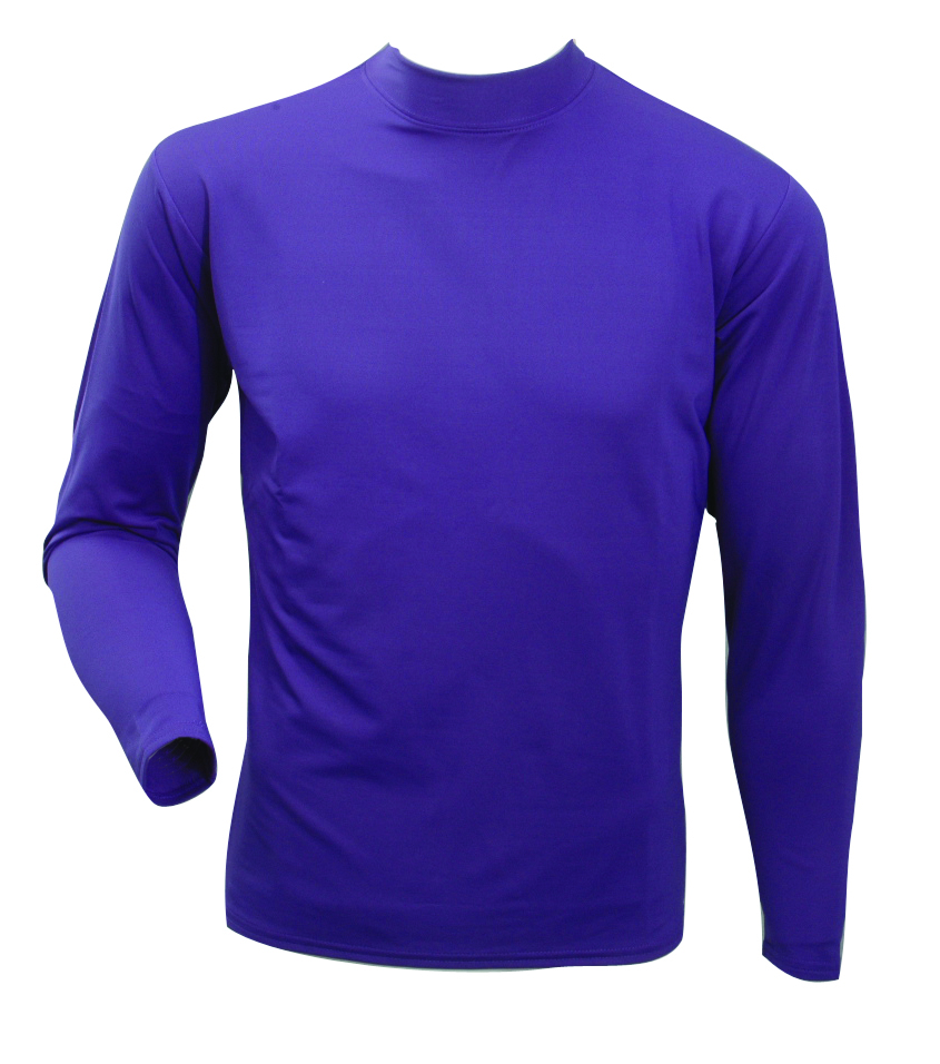 Men's Long Sleeve Cold Weather Mockneck Shirt, Purple, swatch