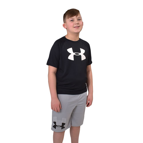 Boys' Tech Big Logo Short Sleeve Tee, Black, swatch