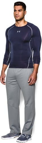 Men's HeatGear Armour Compression Long Sleeve Tee, Navy, swatch