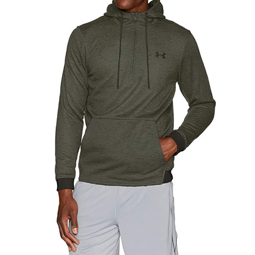 Men's Armour Fleece 1/2 Zip Hoodie, Dkgreen,Moss,Olive,Forest, swatch