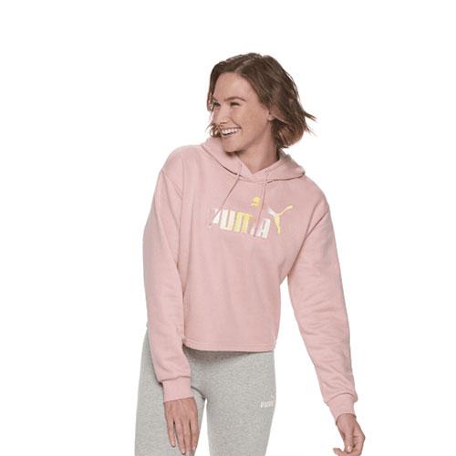 Women's Essentials Cropped Fleece Hoodie, Pink, swatch