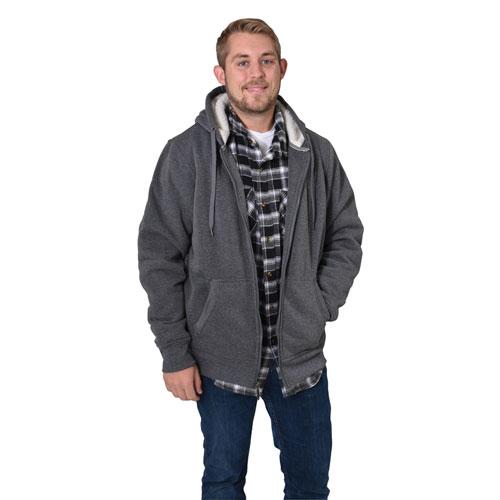 Men's Long Sleeve Sherpa Lined Hoodie, Charcoal,Smoke,Steel, swatch