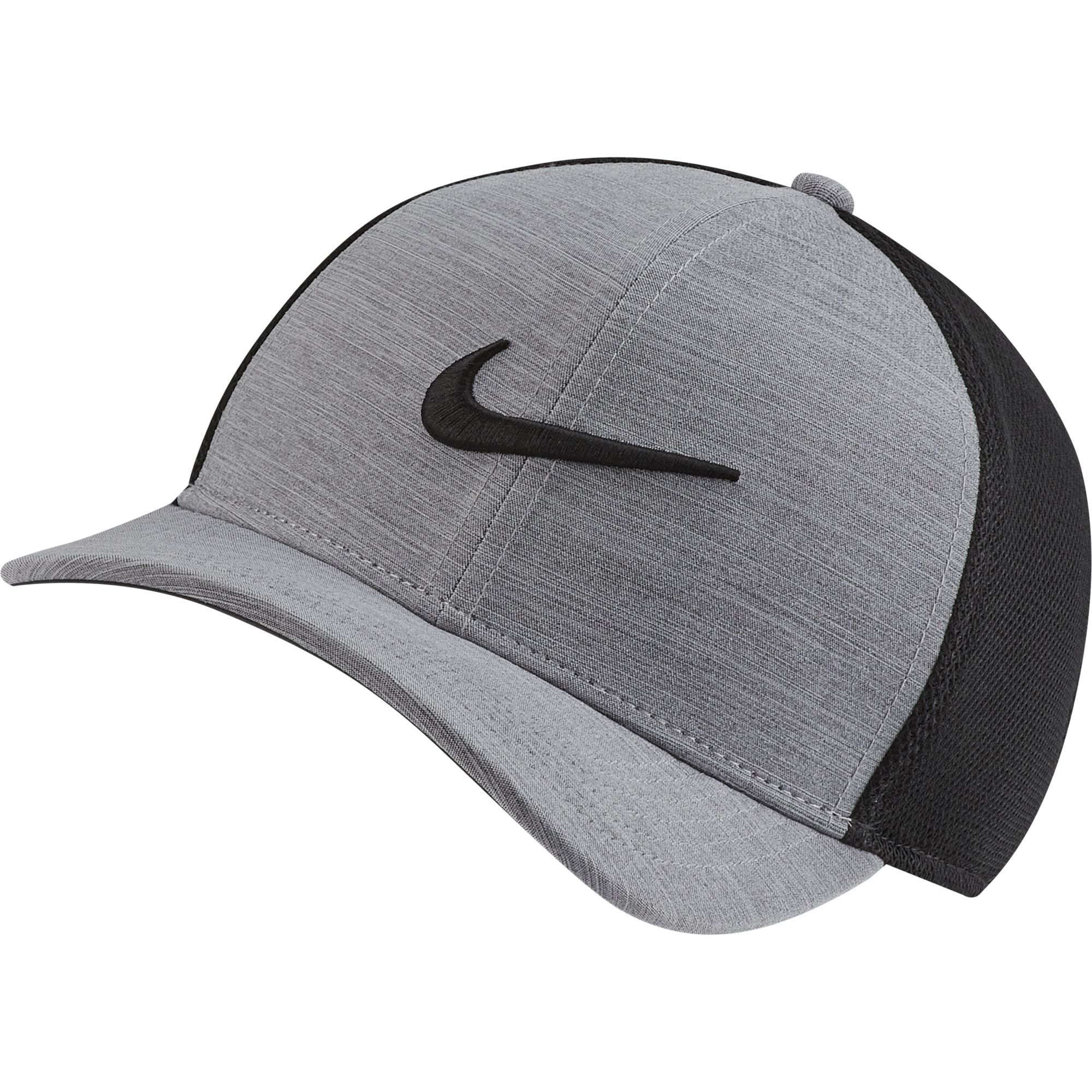 AeroBill Classic99 Mesh Golf Hat, Charcoal/Black, large