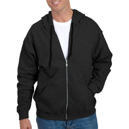 Men's Full Zip Long Sleeve Hoodie, Black, swatch