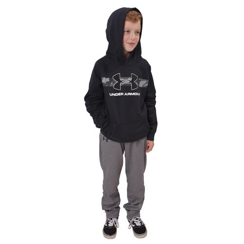 Boy's Rival Camo Chest Big Logo Hoodie, Black, swatch