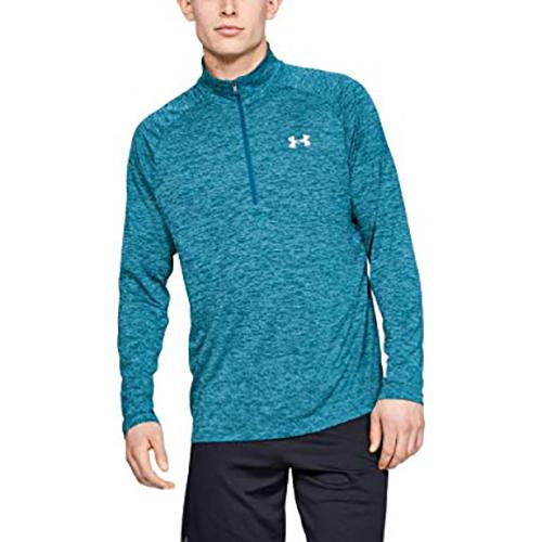 Men's Long Sleeve Tech 1/2 Zip Shirt, Green Blue, Teal, swatch