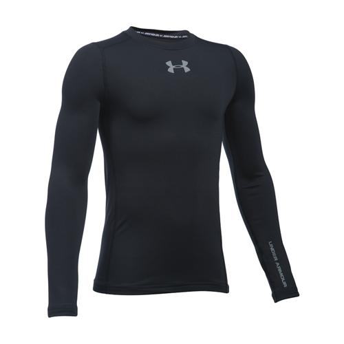 Boys' EVO Crew Fitted ColdGear Shirt, Black, swatch