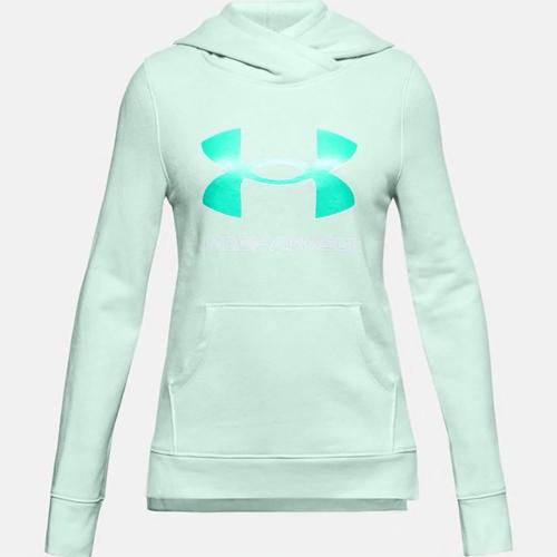 Girls' Rival Fleece Logo Hooide, Lt Green,Mint,Fern,Seafom, swatch