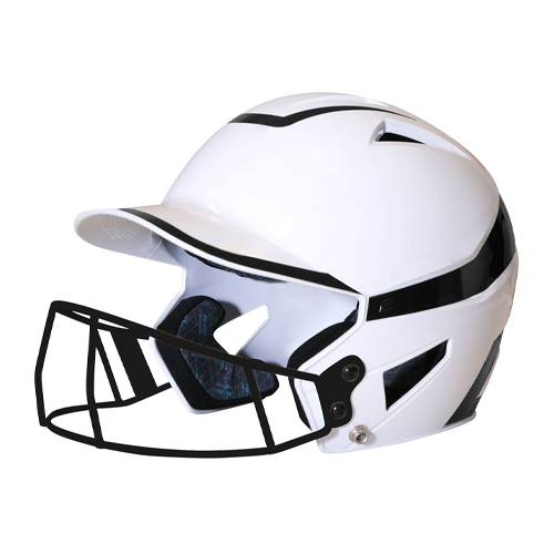 Senior 2-Tone Fast Pitch Helmet with mask, White/Black, swatch