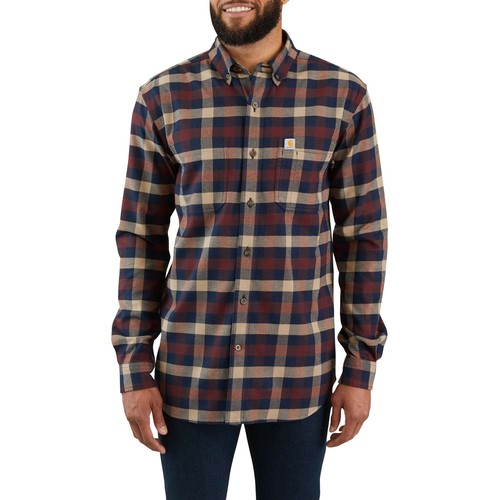 Men's Rugged Flex Hamilton Plaid Long Sleeve Shirt, Dark Tan, swatch