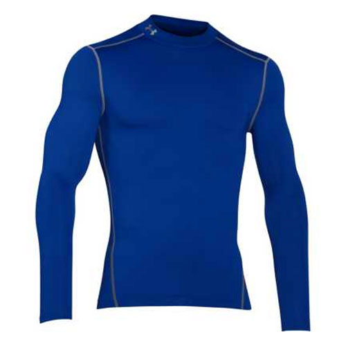 Men's ColdGear EVO Fitted Mock Long Sleeve Shirt, Electric Blue, swatch