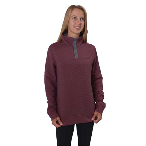 1/4 Button Diamond Fleece Pullover, Dk Red,Wine,Ruby,Burgandy, swatch