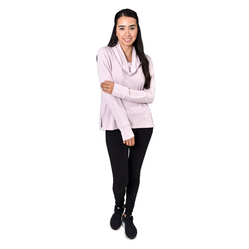 Women's Long Sleeve Pullover Fleece, Pink, swatch