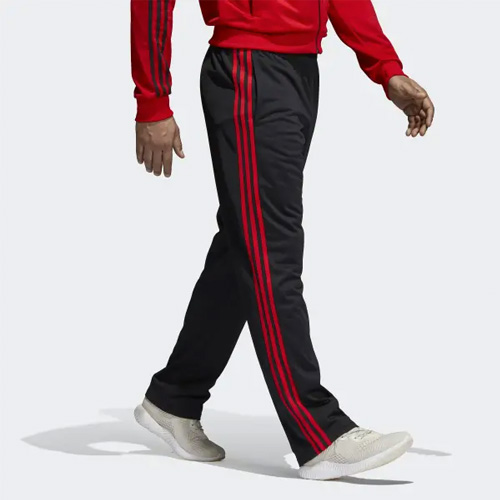 Men's Essential 3-Stripes Pant, Black/Red, swatch