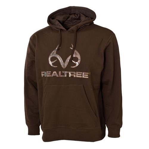 Men's Realtree Logo Hoodie, Dark Brown,Dark Natural, swatch