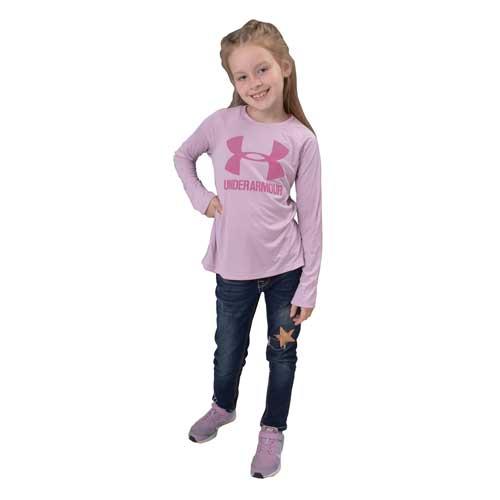Girls' Big Logo Tee, Pink, swatch