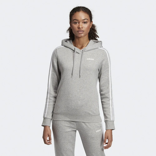 Women's Essentials 3-Stripe Hoodie, Heather Gray, swatch