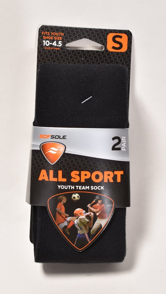 All Sport Team Sock 2-Pack, Black, swatch
