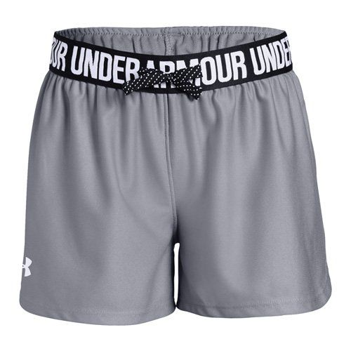 Girls' Play Up Shorts, Heather Gray, swatch