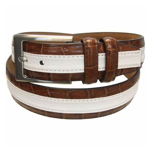 Men's Leather Stripe Textured Belt with Silver Tone Buckle, Sand/White, swatch
