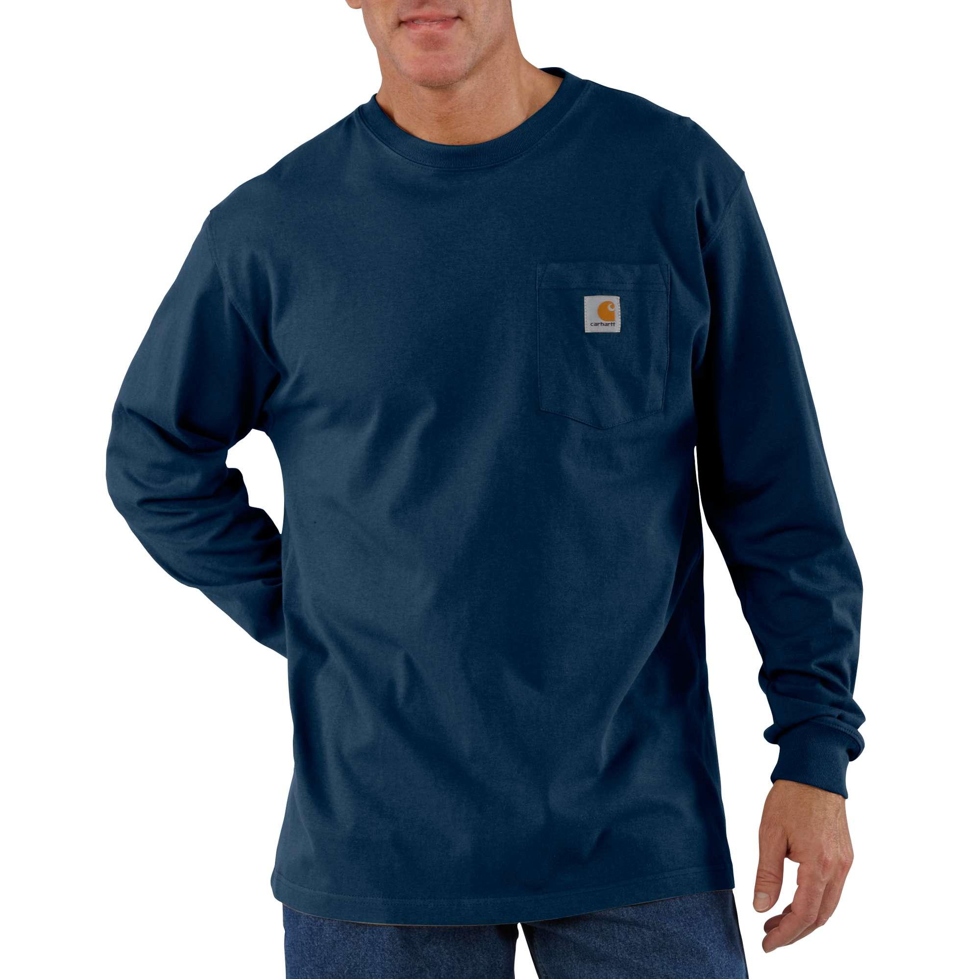 Men's Workwear Long Sleeve Pocket T-Shirt, Navy, swatch