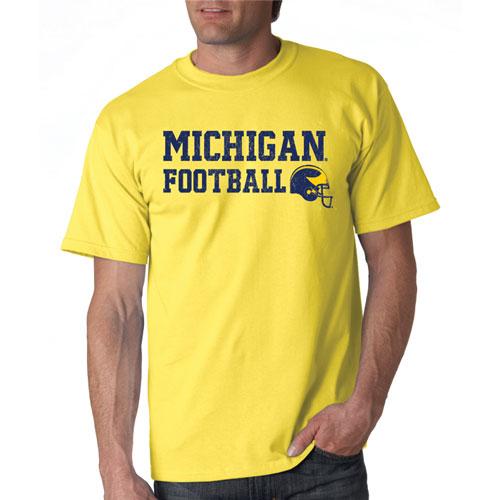 Michigan Football Helmet Tee, Dark Yellow, Brass, swatch