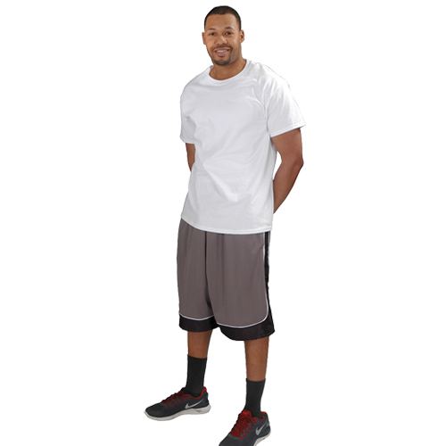 Men's Game Mesh Basketball Shorts, Gray/Black, swatch