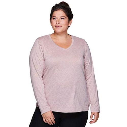 Women's Long Sleeve V-Neck with Side Slit, Light Purple, swatch