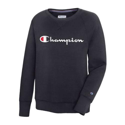 Women's Powerblend Fleece Crewneck Sweater, Black, swatch