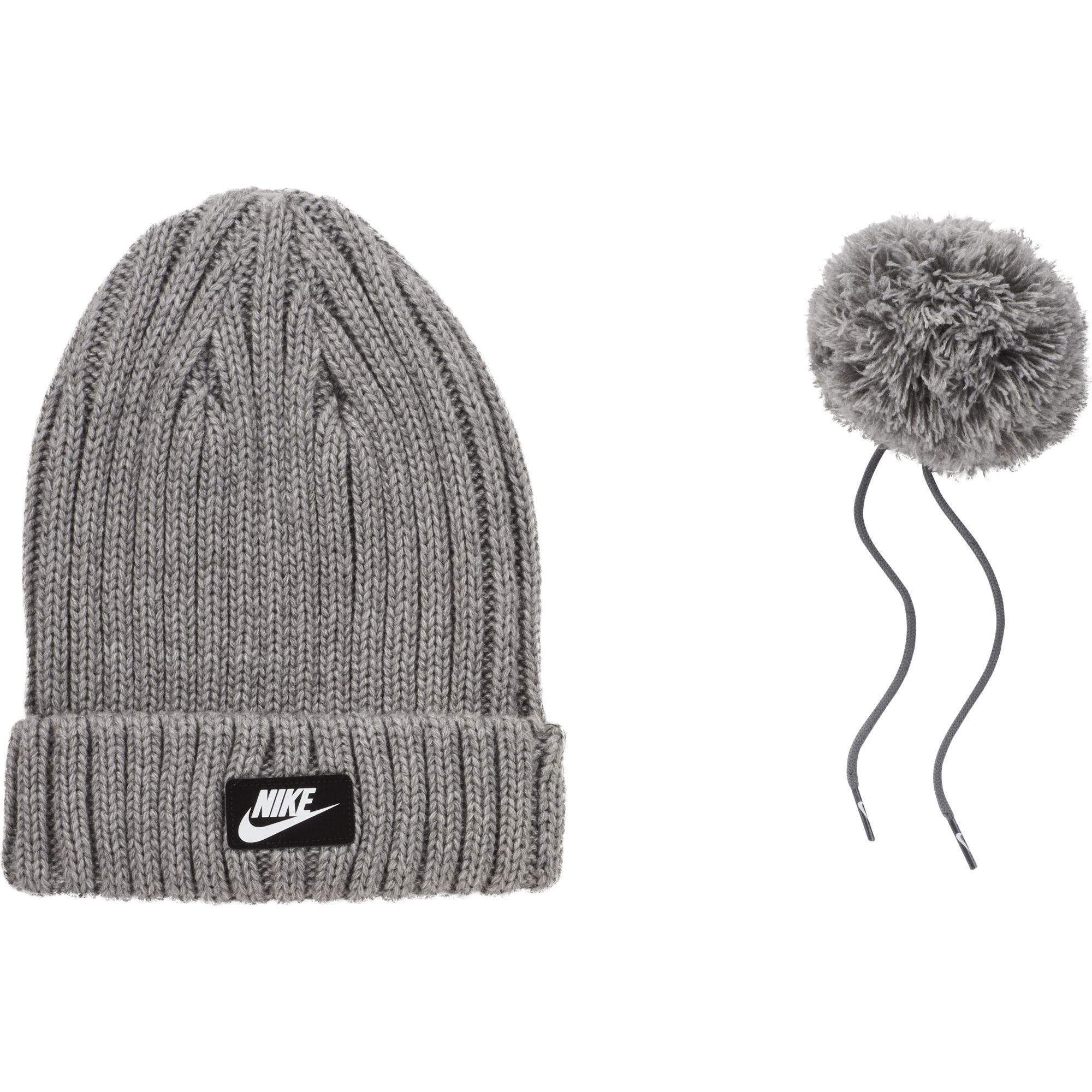 Women's Cuffed Pom Beanie, Heather Gray, swatch