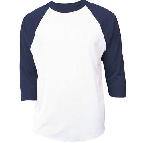 Youth 3/4 Sleeve Baseball Shirt, White/Navy, swatch